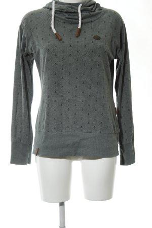 Naketano Maglione con cappuccio grigio chiaro stampa integrale stile casual
