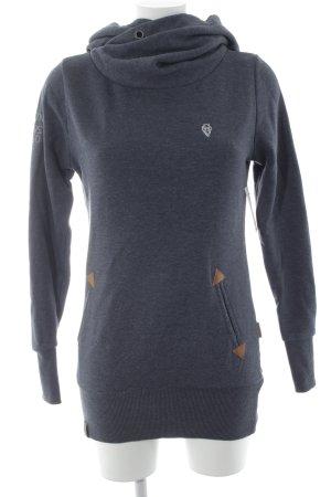 Naketano Jersey con capucha azul oscuro moteado look casual