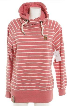 Naketano Jersey con capucha rojo-blanco puro estampado a rayas look casual