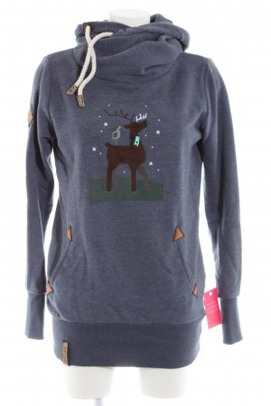 Naketano Hooded Sweatshirt blue flecked casual look