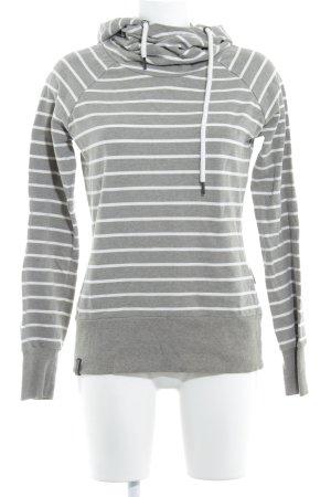Naketano Kapuzensweatshirt grau-weiß Streifenmuster Casual-Look