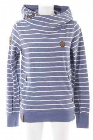 Naketano Kapuzensweatshirt graublau-wollweiß Streifenmuster Casual-Look