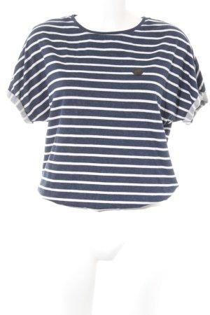 Naketano Jersey de manga corta azul oscuro-blanco estampado a rayas look casual