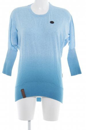 Naketano Long Sweater baby blue-cornflower blue color gradient casual look