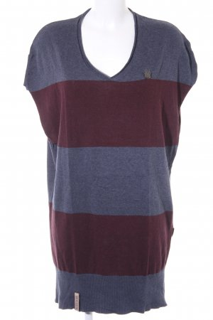 Naketano Camisa larga azul acero-burdeos estampado a rayas look casual