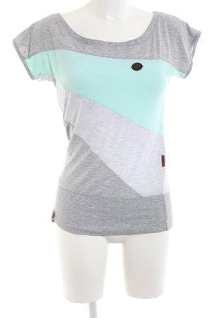 Naketano Oversized shirt lichtgrijs-turkoois gestippeld casual uitstraling