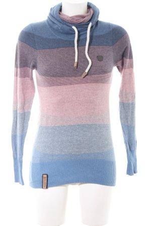 Naketano Maglione dolcevita blu-rosa motivo a righe stile casual