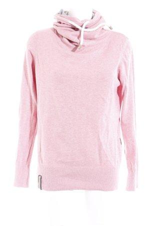 Naketano Rollkragenpullover grau-rosa Webmuster Casual-Look