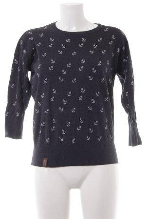 Naketano Strickpullover dunkelblau-weiß abstraktes Muster Casual-Look