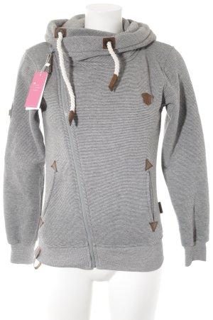 Naketano Veste sweat blanc-gris motif rayé style décontracté