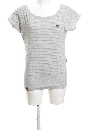 Naketano T-Shirt hellgrau-grau Streifenmuster schlichter Stil