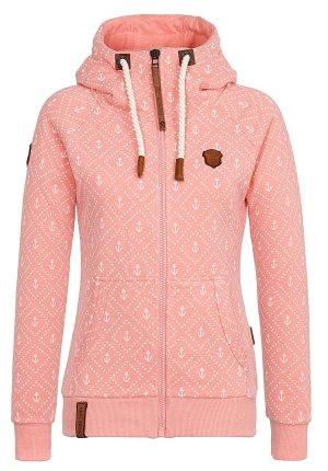 Naketano * Traum Sweatshirtjacke Jennifer Hart * rosa-weiß * XL