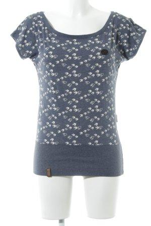 Naketano U-Boot-Shirt graublau-weiß Animalmuster Casual-Look