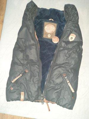 Naketano Chaleco acolchado negro-marrón grisáceo