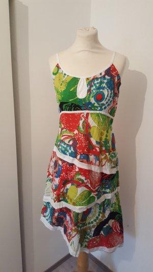 Namaste Kleid Judy weiß bunt bedruckt Spaghettiträger Größe L
