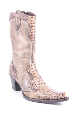 Nancy Kurzstiefel beige-dunkelbraun Reptil-Optik