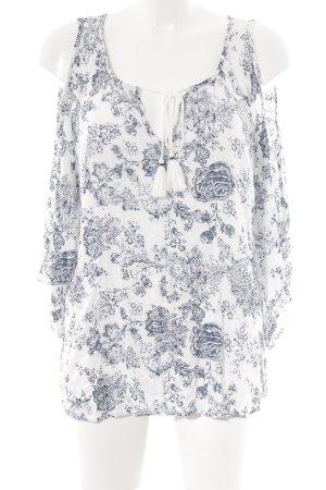 Nanette Lepore Transparenz-Bluse weiß-petrol florales Muster Hippie-Look