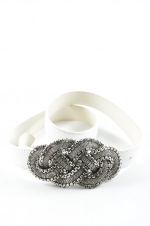 Nanni Leather Belt white-silver-colored street-fashion look