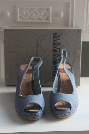 Napapijri Strapped High-Heeled Sandals steel blue