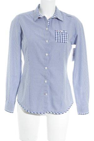 Napapijri Langarm-Bluse kornblumenblau-weiß Karomuster Street-Fashion-Look