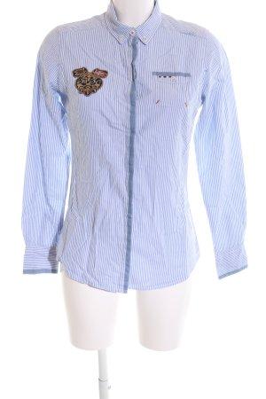 Napapijri Langarmhemd blau-weiß Streifenmuster Casual-Look