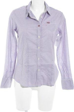 Napapijri Shirt met lange mouwen lila-wit geruite print casual uitstraling