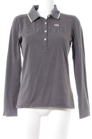 Napapijri Longshirt dunkelgrau Schriftzug gestickt sportlicher Stil