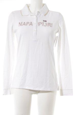 Napapijri Longshirt weiß Schriftzug gestickt sportlicher Stil