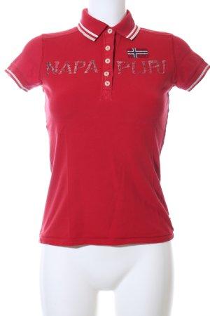 Napapijri Polo-Shirt rot-weiß Schriftzug gedruckt Casual-Look