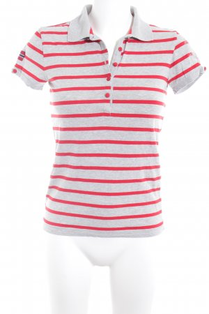 Napapijri Gestreept shirt lichtgrijs-rood casual uitstraling