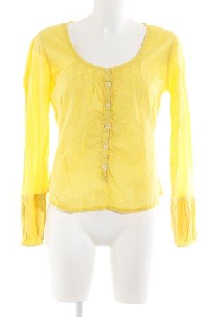 Napapijri Schlupf-Bluse gelb Schriftzug gestickt Casual-Look