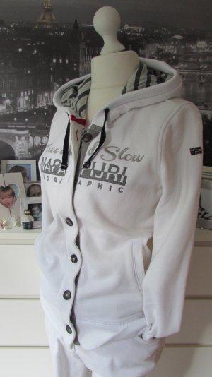 NAPAPIJRI * Schönster Sweatshirt Hoodie * weiß hellgrau Print+Stitchings * XXL=42/44