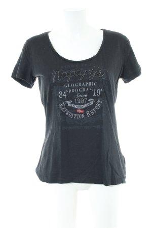 Napapijri T-Shirt schwarz-weiß Schriftzug gedruckt Casual-Look