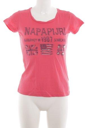 Napapijri T-Shirt pink Schriftzug gedruckt Casual-Look