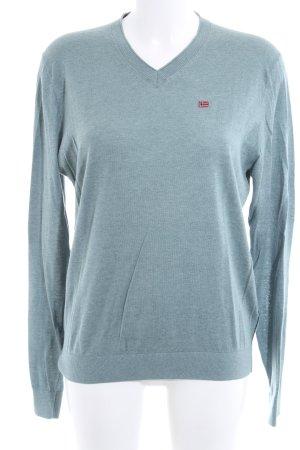 Napapijri V-Neck Sweater blue flecked casual look