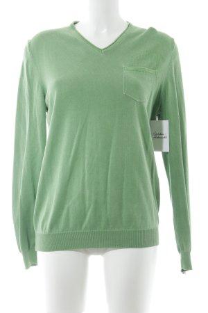 Napapijri V-Ausschnitt-Pullover grasgrün Casual-Look