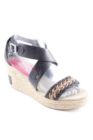 Napapijri Wedges Sandaletten schwarz-braun Webmuster Casual-Look