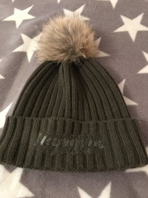 Napapijri Woll/Kasmir Mütze mit Echtfell Bommel neu 120€