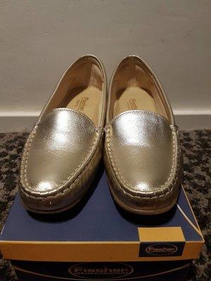 Espadrille sandalen beige-goud Leer