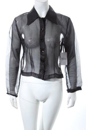Naracamicie Langarm-Bluse schwarz Transparenz-Optik