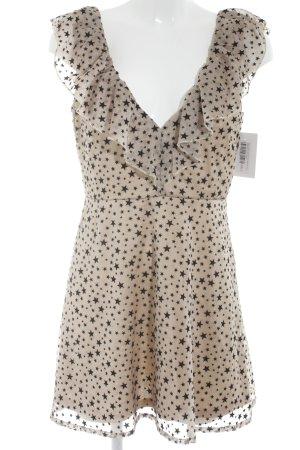 Nasty Gal A-Linien Kleid beige-schwarz Sternenmuster Elegant