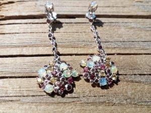 Natürliche Edel Opal und Edelsteine Ohrhänger 925 Silber