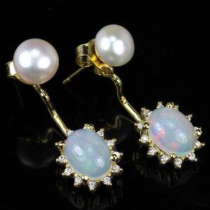 Natürliches Opal Ohrringe mit Perle  925 vergoldet