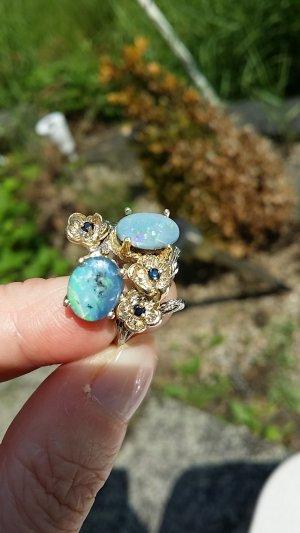 Natural Boulder Opal Ring in Silber 925 vergoldet