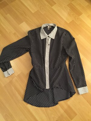 Navy blau polka dot blouse