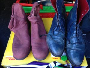 NAVY Boots coloured blue n red inside outside