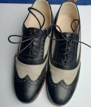 Navyboot Wingtip Shoes black-oatmeal leather