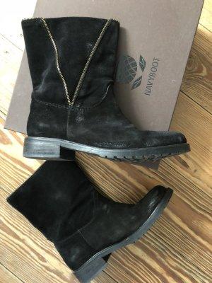 NAVYBOOT Winter Boots, Gr 40, schwarzes Wildleder mit besonderem Reißverschluss *wie NEU*