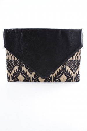 Neat to. Clutch schwarz-beige abstraktes Muster Boho-Look