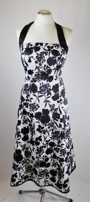 Neckholder Abendkleid Cocktail Kleid Midi Sixth Sense C&A Größe XS 34 Schwarz Weiß Blüten Blumen Muster Tanzkleid Retro Satin Petticoat